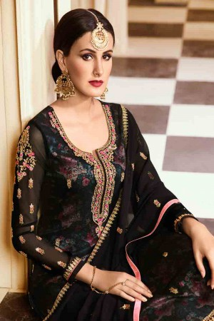 Ravishing Black Georgette Heavy Embroidery on Neck and Sleeve with Embroidery Dupatta  Salwar Kameez