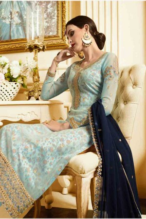 Dreamy SkyBlue Georgette Heavy Embroidery on Neck and Sleeve with Embroidery Dupatta  Salwar Kameez