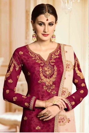 Divine Maroon Georgette Heavy Embroidery on Neck and Sleeve with Embroidery Dupatta  Salwar Kameez