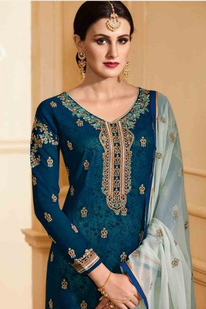 Classic Aqua Georgette Heavy Embroidery on Neck and Sleeve with Embroidery Dupatta  Salwar Kameez