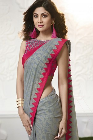Shilpa Shetty Grey  Chiffin Brasso Print with Lace Border Saree
