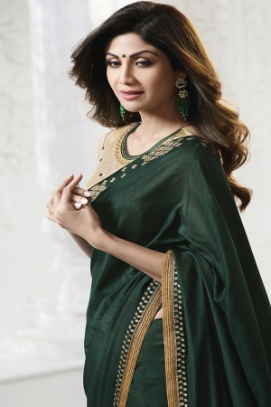 Shilpa Shetty DarkGreen Banglori(Vichitra) Print with Lace Border Saree