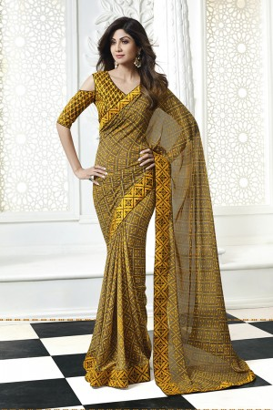 Shilpa Shetty MultiColor Georgette Print with Lace Border Saree