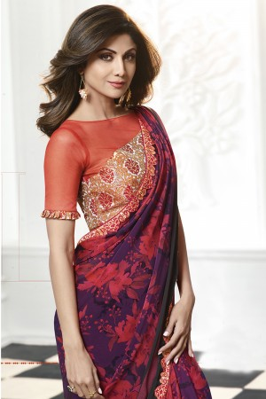 Shilpa Shetty Wine Rangoli Print with Lace Border Saree