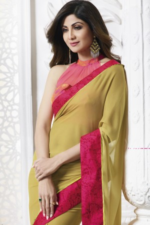 Shilpa Shetty Mustard Rangoli Print with Lace Border Saree