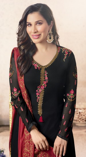 Sophie Choudry Black Georgette Heavy Embroidery on Neck and Sleeve with Embroidery Dupatta  Salwar Kameez
