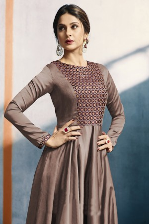 Jennifer Winget Chocolate SatinSilk Applique Beads Botton & Embroidery Work Kurti