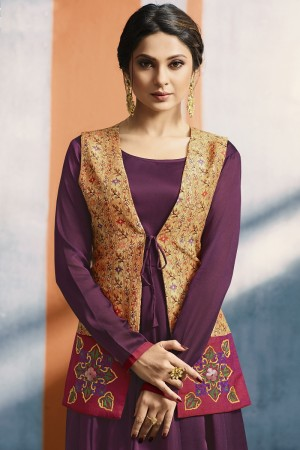 Jennifer Winget Magenta Silk& Georgette Digital Print Jacket with Applique Hand Work Kurti