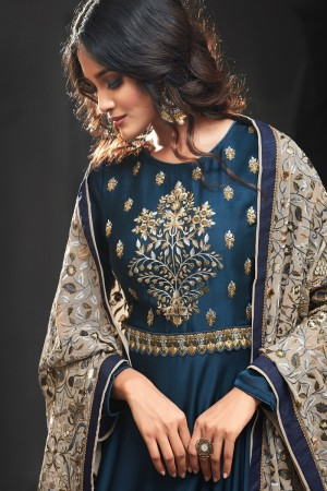 Divine Blue Silk Satin Heavy Embroidery on Neck and Sleeve with Embroidery Dupatta  Salwar Kameez