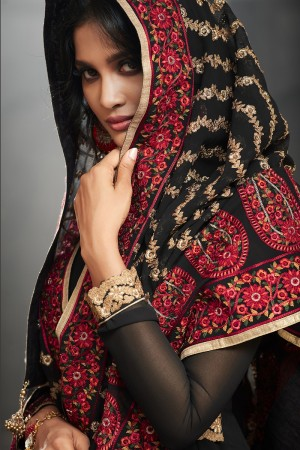 Beguiling Black Georgette Heavy Embroidery on Neck and Sleeve with Embroidery Dupatta  Salwar Kameez