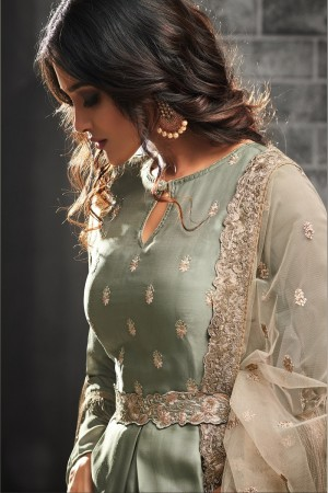 Desirable Mehendi Silk Satin Heavy Embroidery on Neck and Lace Border with Embroidery Dupatta  Salwar Kameez
