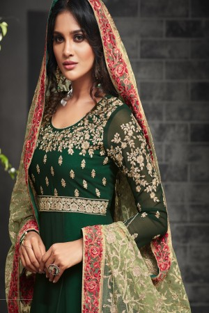 Designer Dark Green Georgette Heavy Embroidery on Neck and Sleeve with Embroidery Dupatta  Salwar Kameez