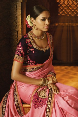 Majestic Pink Satin Heavy Embroidery Zari and Sequance Work with Cotton Thread Work Saree