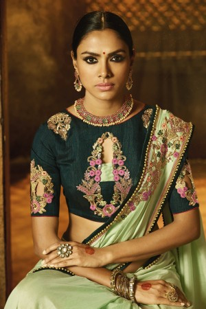 Sensuous Pista Green Silk Heavy Embroidery Zari and Sequance Work with Thread Work Saree