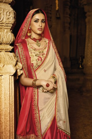 Glamorous Red Satin Silk Heavy Embroidery Badala Zari and Sequance Work with Mono Color Thread Work Saree