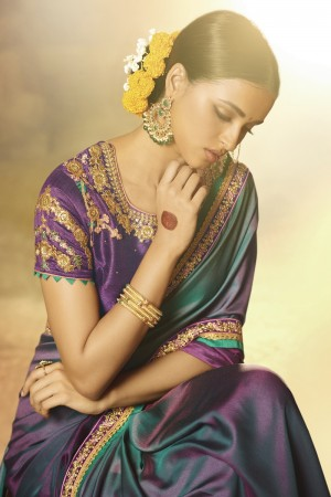 Aesthetic Wine&Rama Green Silk Heavy Embroidery Badala Zari and Sequance Work with Multi Color Thread Work Saree