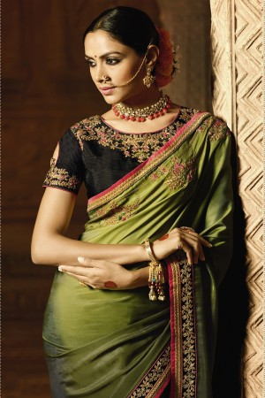 Beauteous Mehendi Silk Heavy Embroidery Badala Zari and Sequance Work with Multi Color Resham Work Saree