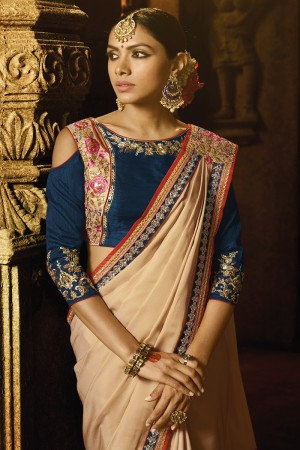 Adorable Chiku Silk Heavy Embroidery Badala Zari and Sequance Work with Multi Color Resham Work Saree