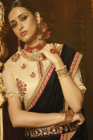 Dashing Black Silk Heavy Embroidery Badala Zari and Sequance Work with Multi Color Resham Work Saree