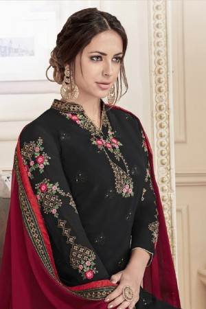 Awesome Black Georgette Heavy Embroidery on Neck and Sleeve with Embroidery on Bottom  Salwar Kameez