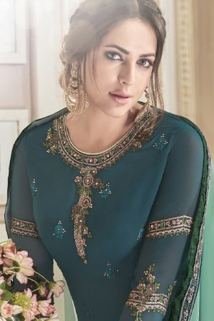 Eye catching Teal Green Georgette Heavy Embroidery on Neck and Sleeve with Embroidery on Bottom  Salwar Kameez