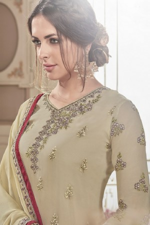 Elegant Beige Georgette Heavy Embroidery on Neck and Sleeve with Embroidery on Bottom  Salwar Kameez