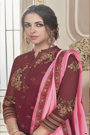 Dynamic Maroon Georgette Heavy Embroidery on Neck and Sleeve with Embroidery on Bottom  Salwar Kameez