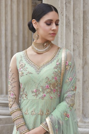 Lavish Light Mint Green Net Heavy Embroidery Sequance, Coding & Thread Kali Work with Embroidery Dupatta  Salwar Kameez
