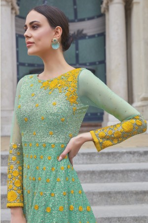Lovely Light Green&Yellow Net Heavy Embroidery Sequance & Thread Work  Salwar Kameez
