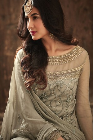 Affluent Light Mehendi Net Heavy Embroidery Sequance & Diamond Work with Embroidery Dupatta Salwar Kameez