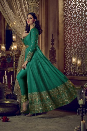 Superb Green Silk Heavy Embroidery Zari Sequance Thread & Diamond Work  Salwar Kameez