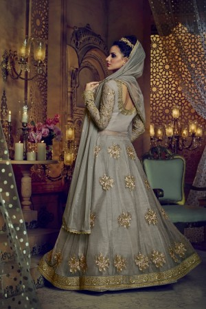 Unique Dusty Grey Net Heavy Embroidery Sequance Zari and Diamond Work  Salwar Kameez