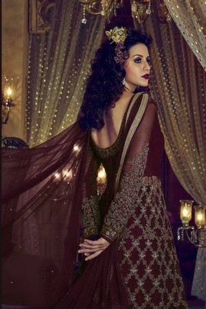 Lavish Wine Net Heavy Embroidery Zari Coding & Diamond Work  Salwar Kameez