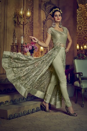 Lovely Olive Green Net Heavy Embroidery Sequance Thread and Diamond Work   Salwar Kameez