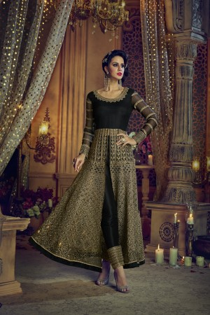 Fashionable Black Net Heavy Embroidery Zari & Diamond Work  Salwar Kameez