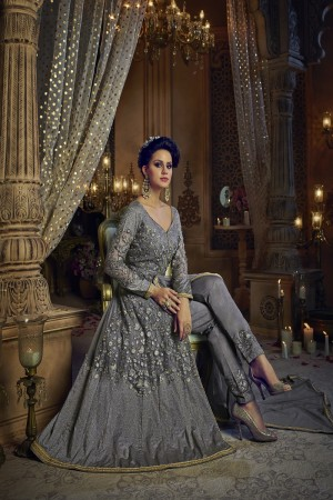 Aspiring Grey Net & Banglori Silk Heavy Embroidery Thread & Diamond Work  Salwar Kameez