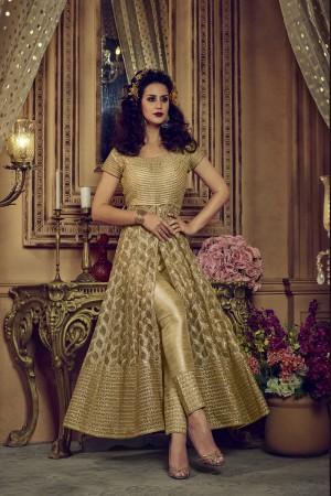 Modest Cream Net Heavy Embroidery Coding & Diamond Work  Salwar Kameez