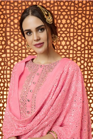Affluent Pink Cotton Satin Heavy Embroidery Salwar Kameez