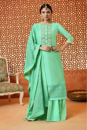 Decent Bottle Green Cotton Satin Heavy Embroidery Salwar Kameez
