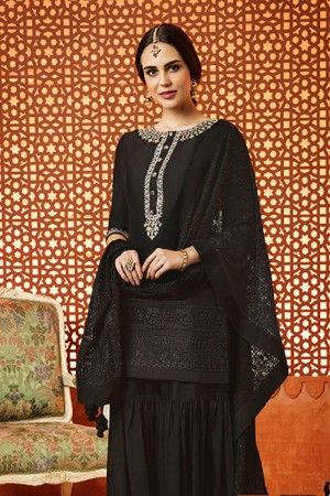 Exquisite Black Cotton Satin Heavy Embroidery  Salwar Kameez