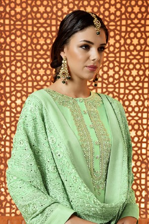 Contemporary Pista Green Cotton Satin Heavy Embroidery Salwar Kameez
