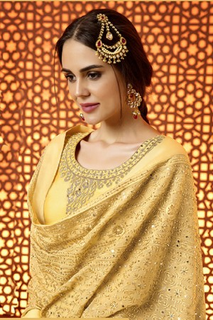 Brilliant Mustard Cotton Satin Heavy Embroidery Salwar Kameez
