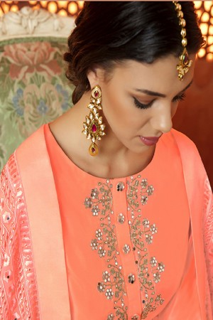 Creative Peach Cotton Satin Heavy Embroidery Salwar Kameez