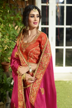 Stunning Rani Pink Silk Heavy Embroidery Zari, Thread and Coding Work  Saree