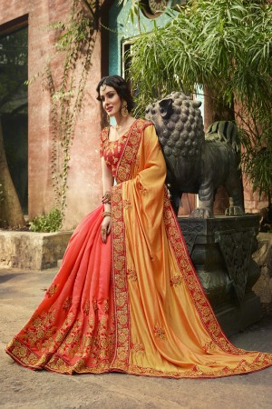 Luscious Mustard&Peach Silk Heavy Embroidery Zari, Thread and Coding Work  Saree