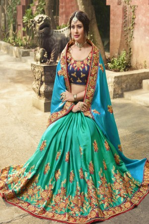 Glitzy Bottle Green& Sky Blue Silk Heavy Embroidery Zari, Thread and Coding Work  Saree