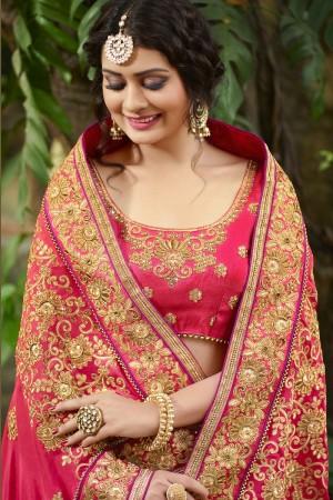Ethnic Pink Silk Heavy Embroidery Zari, Thread and Coding Work  Saree