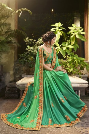 Distinctive Parrot Green Silk Heavy Embroidery Zari, Thread and Coding Work  Saree