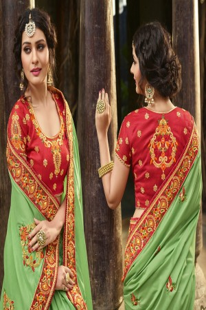 Ravishing Light Green Silk Heavy Embroidery Zari, Thread and Coding Work  Saree
