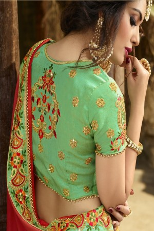 Dreamy Orange Silk Heavy Embroidery Zari, Thread and Coding Work  Saree